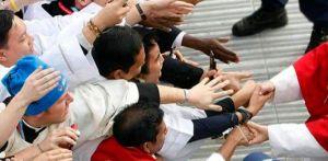 Pope Benedict greets pilgrims.